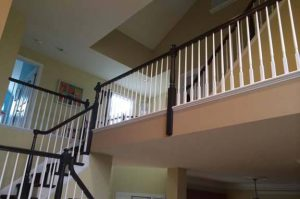 painted stairwell and spindles