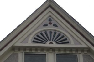 Detail of exterior painting work.
